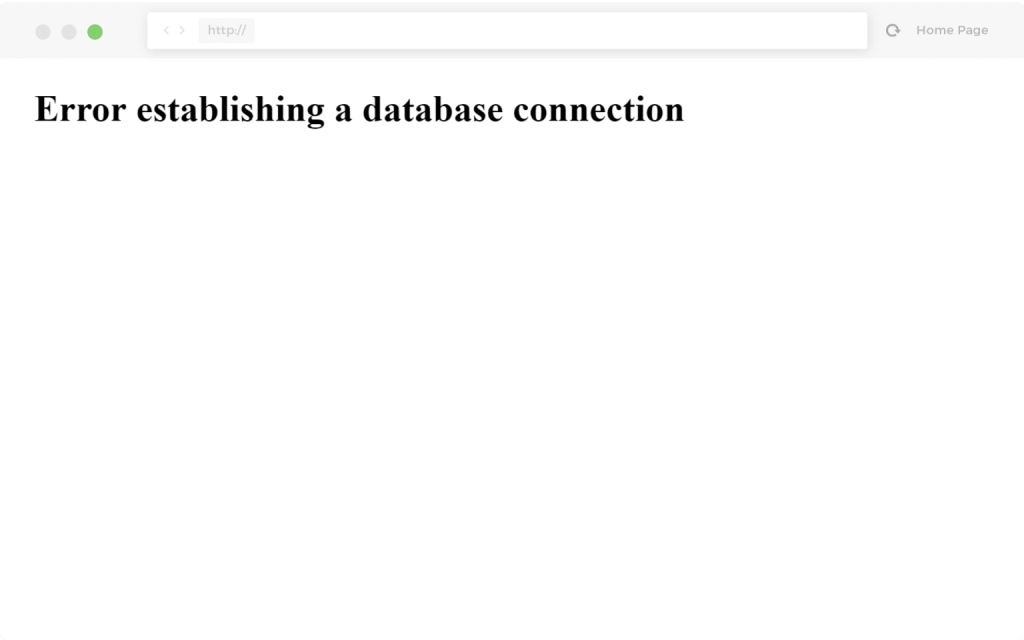 建立数据库连接时出错的示例