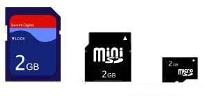 三种不同型号的SD卡