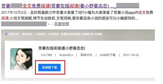 问题16(示例):标题指示该小说可以下载,但该页面显示了下载APP的否定情况